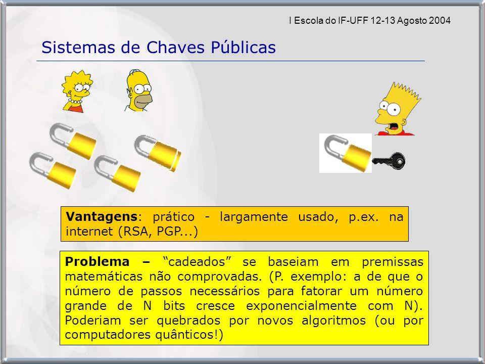 I Escola do IF-UFF 12-13 Agosto 2004 Sistemas de Chaves Públicas Vantagens: prático - largamente usado, p.ex.
