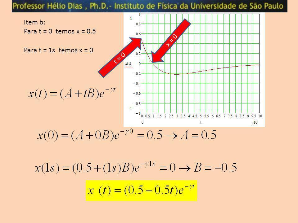 Item b: Para t = 0 temos x = 0.5 t = 0 x = 0 Para t = 1s temos x = 0