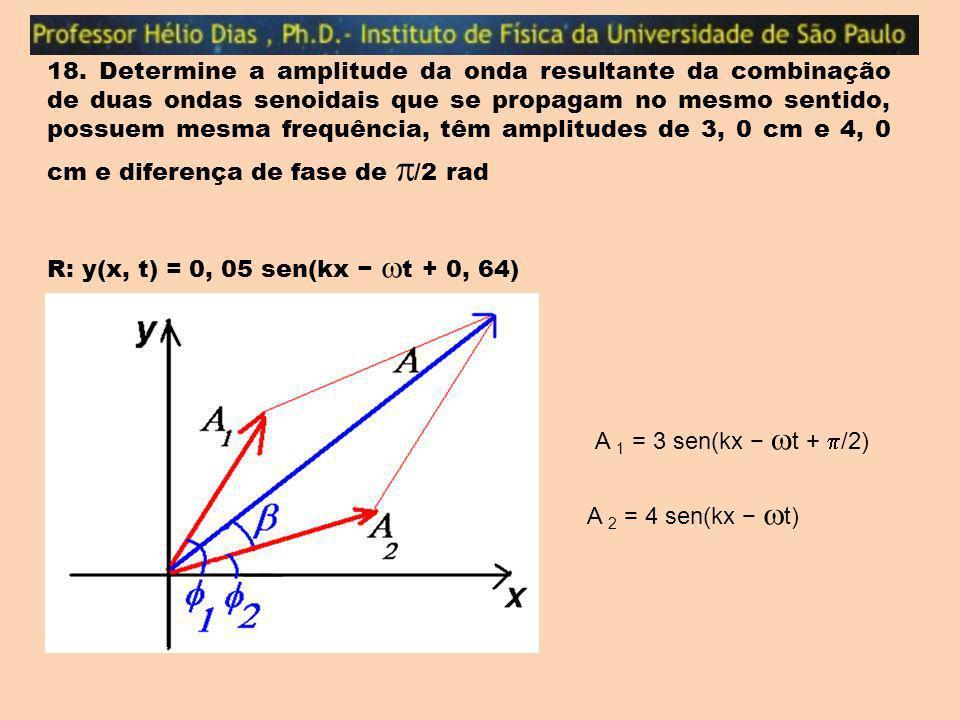 18. Determine a amplitude da onda resultante da combinação de duas ondas senoidais que se propagam no mesmo sentido, possuem mesma frequência, têm amp
