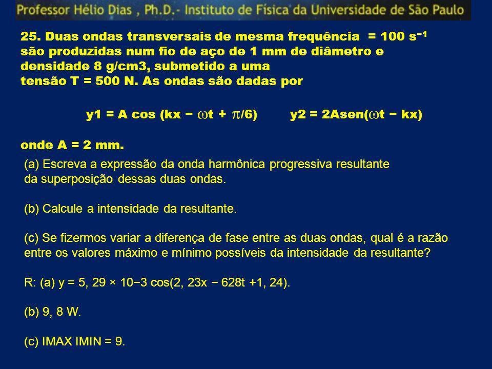 25. Duas ondas transversais de mesma frequência = 100 s 1 são produzidas num fio de aço de 1 mm de diâmetro e densidade 8 g/cm3, submetido a uma tensã
