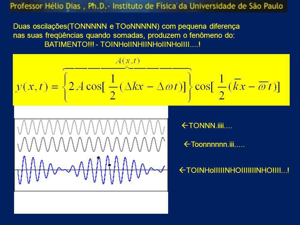 Duas oscilações(TONNNNN e TOoNNNNN) com pequena diferença nas suas freqüências quando somadas, produzem o fenômeno do: BATIMENTO!!! - TOINHoIINHIINHoI