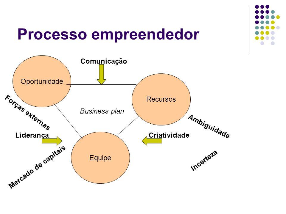 Processo empreendedor Oportunidade Recursos Equipe Business plan Comunicação LiderançaCriatividade Incerteza Ambiguidade Mercado de capitais Forças ex