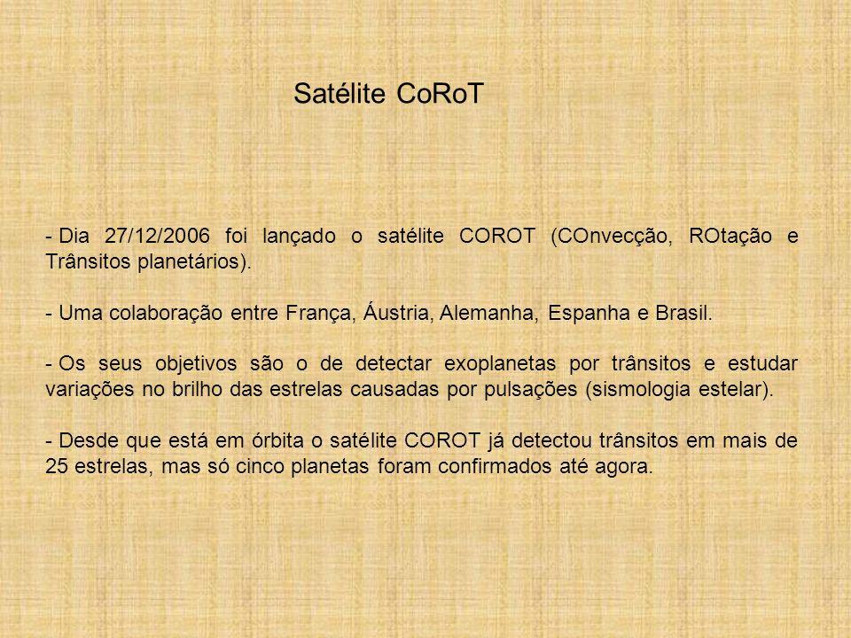 - Dia 27/12/2006 foi lançado o satélite COROT (COnvecção, ROtação e Trânsitos planetários). - Uma colaboração entre França, Áustria, Alemanha, Espanha
