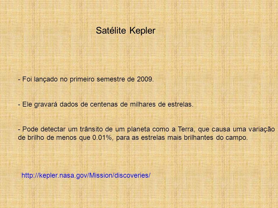 Satélite Kepler - Foi lançado no primeiro semestre de 2009. - Ele gravará dados de centenas de milhares de estrelas. - Pode detectar um trânsito de um