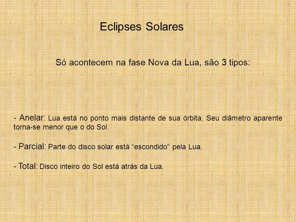 Eclipses Solares Só acontecem na fase Nova da Lua, são 3 tipos: - Anelar: Lua está no ponto mais distante de sua órbita. Seu diâmetro aparente torna-s