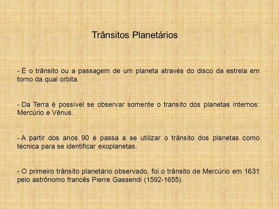 Trânsitos Planetários - É o trânsito ou a passagem de um planeta através do disco da estrela em torno da qual orbita. - Da Terra é possível se observa