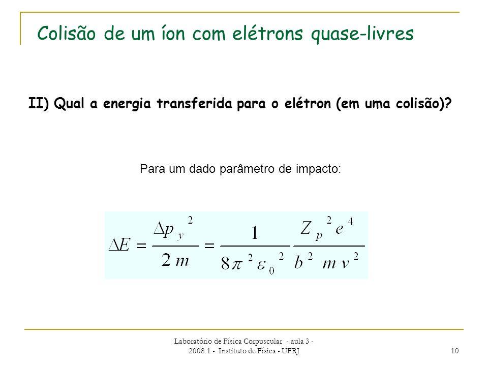 Laboratório de Física Corpuscular - aula 3 - 2008.1 - Instituto de Física - UFRJ 10 II) Qual a energia transferida para o elétron (em uma colisão)? Pa