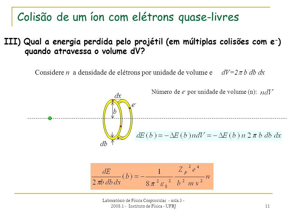 Laboratório de Física Corpuscular - aula 3 - 2008.1 - Instituto de Física - UFRJ 11 III) Qual a energia perdida pelo projétil (em múltiplas colisões c