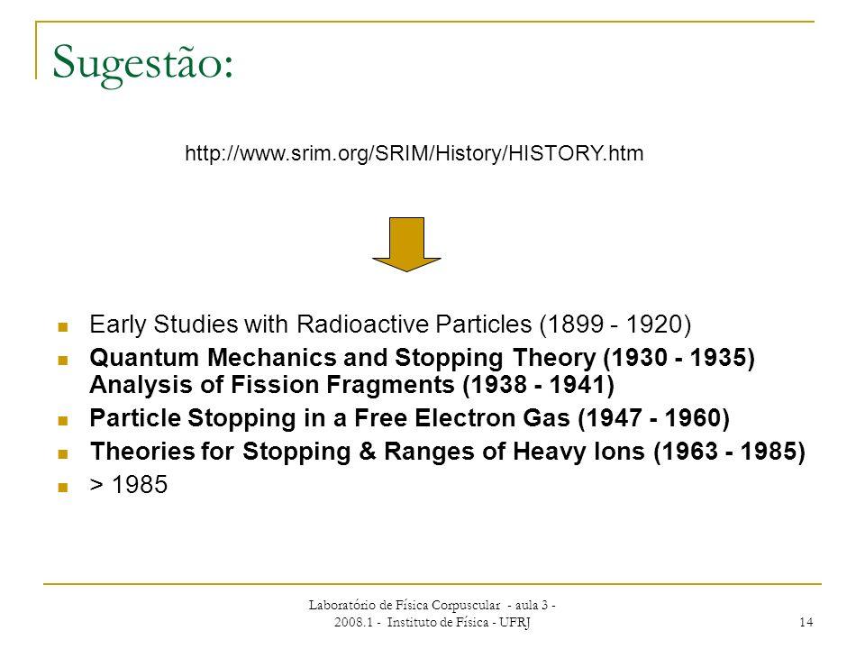 Laboratório de Física Corpuscular - aula 3 - 2008.1 - Instituto de Física - UFRJ 14 Sugestão: Early Studies with Radioactive Particles (1899 - 1920) Q