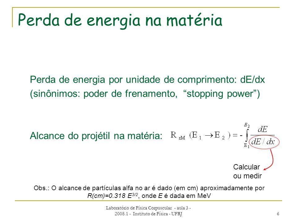 Laboratório de Física Corpuscular - aula 3 - 2008.1 - Instituto de Física - UFRJ 6 Perda de energia na matéria Perda de energia por unidade de comprim