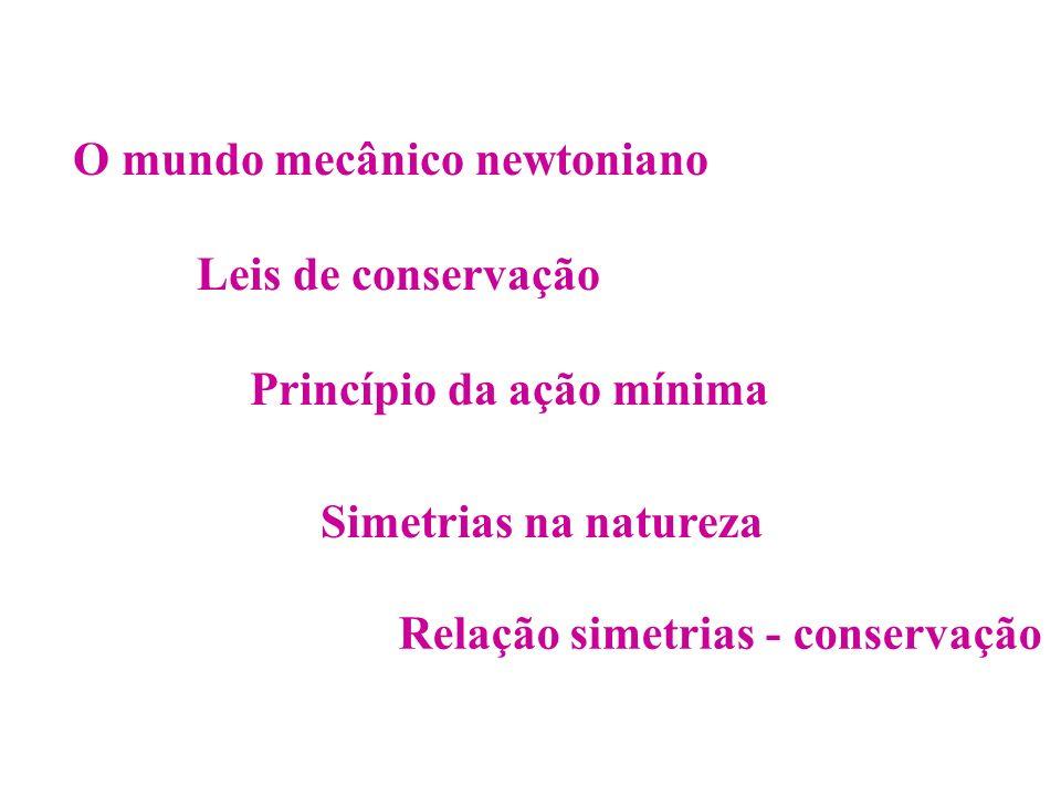 O mundo mecânico newtoniano Leis de conservação Simetrias na natureza Relação simetrias - conservação Princípio da ação mínima