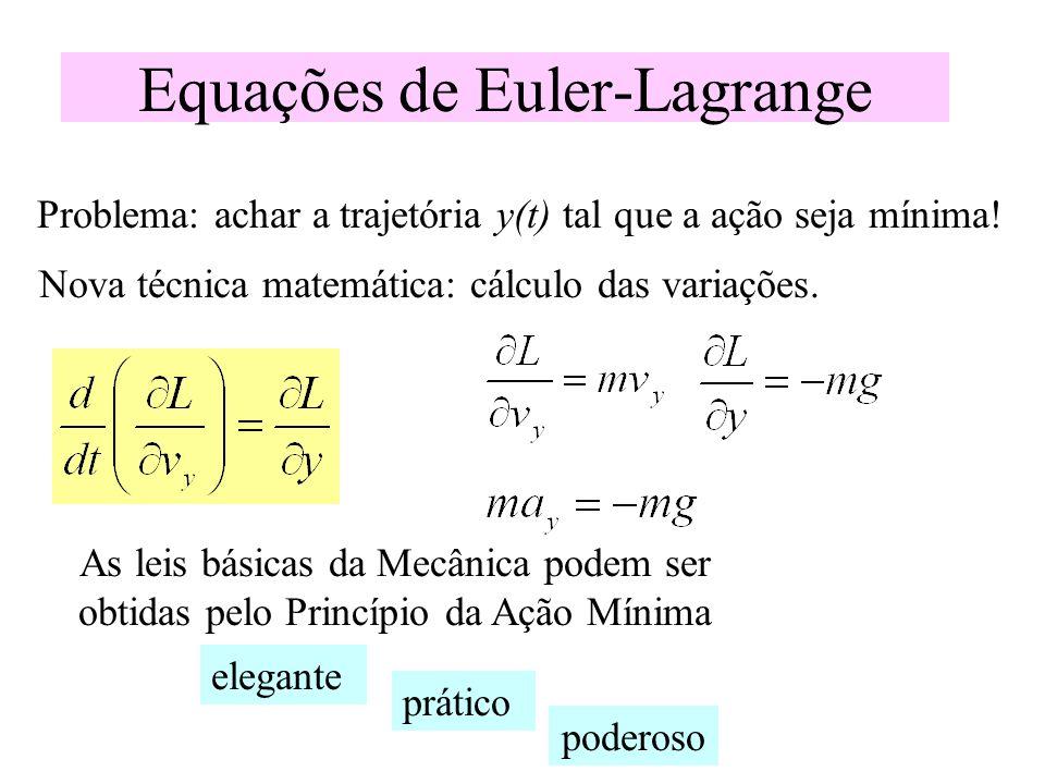 Equações de Euler-Lagrange Problema: achar a trajetória y(t) tal que a ação seja mínima! Nova técnica matemática: cálculo das variações. As leis básic