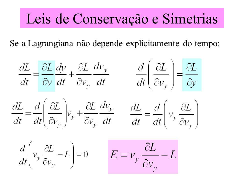 Leis de Conservação e Simetrias Se a Lagrangiana não depende explicitamente do tempo: