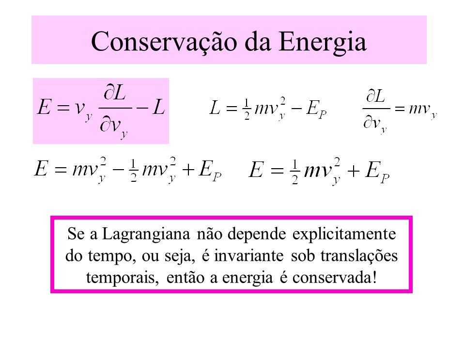 Conservação da Energia Se a Lagrangiana não depende explicitamente do tempo, ou seja, é invariante sob translações temporais, então a energia é conser