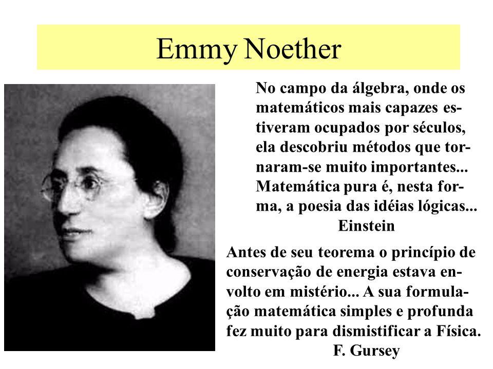 Emmy Noether No campo da álgebra, onde os matemáticos mais capazes es- tiveram ocupados por séculos, ela descobriu métodos que tor- naram-se muito imp