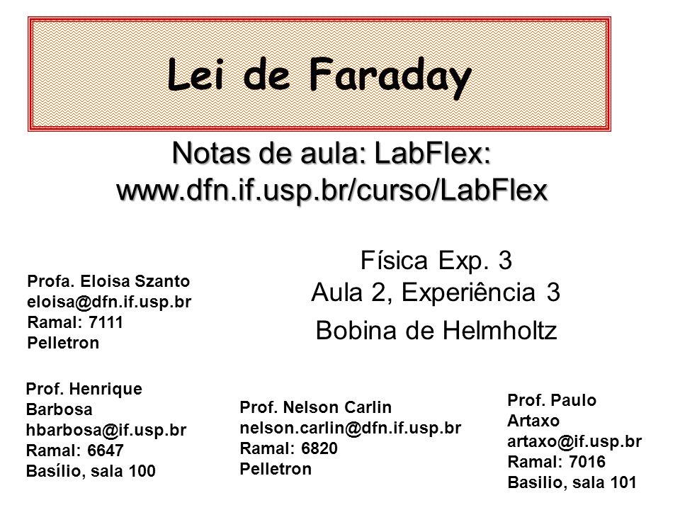 Mapeamento ao longo dos eixos: –Z –paralelo ao diâmetro Lei de Faraday: Helmholtz Eixo paralelo a um diâmetro