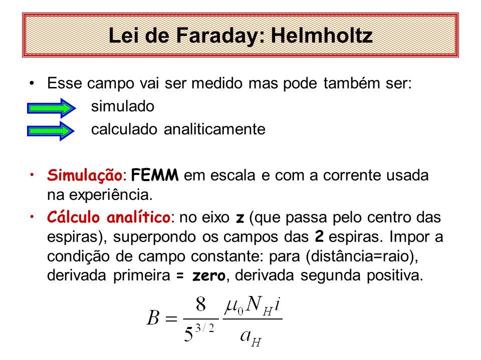 Lei de Faraday: Helmholtz Esse campo vai ser medido mas pode também ser: simulado calculado analiticamente Simulação : FEMM em escala e com a corrente