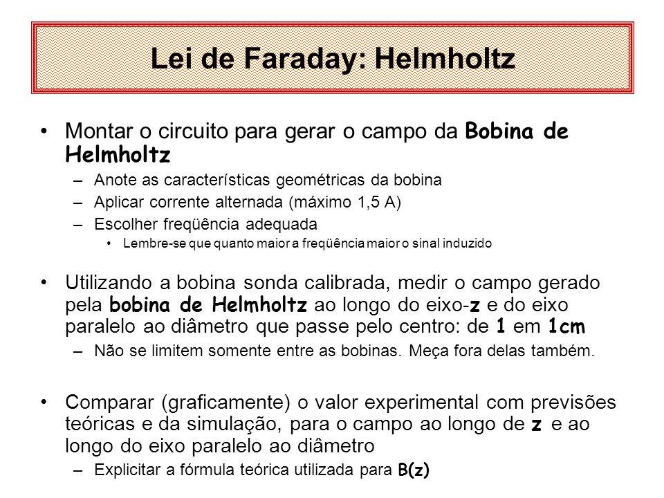 Montar o circuito para gerar o campo da Bobina de Helmholtz –Anote as características geométricas da bobina –Aplicar corrente alternada (máximo 1,5 A)