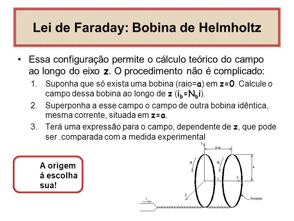Lei de Faraday: Helmholtz O campo magnético Bz ao longo do eixo z, (que passa pelos centros das bobinas) depende da distância d entre as bobinas:, d=0,8 a H d=a H d=1,2 a H z d d Esse é o campo da bobina de Helmholtz