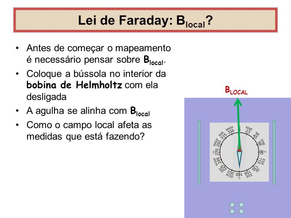 Lei de Faraday: B local ? Antes de começar o mapeamento é necessário pensar sobre B local. Coloque a bússola no interior da bobina de Helmholtz com el