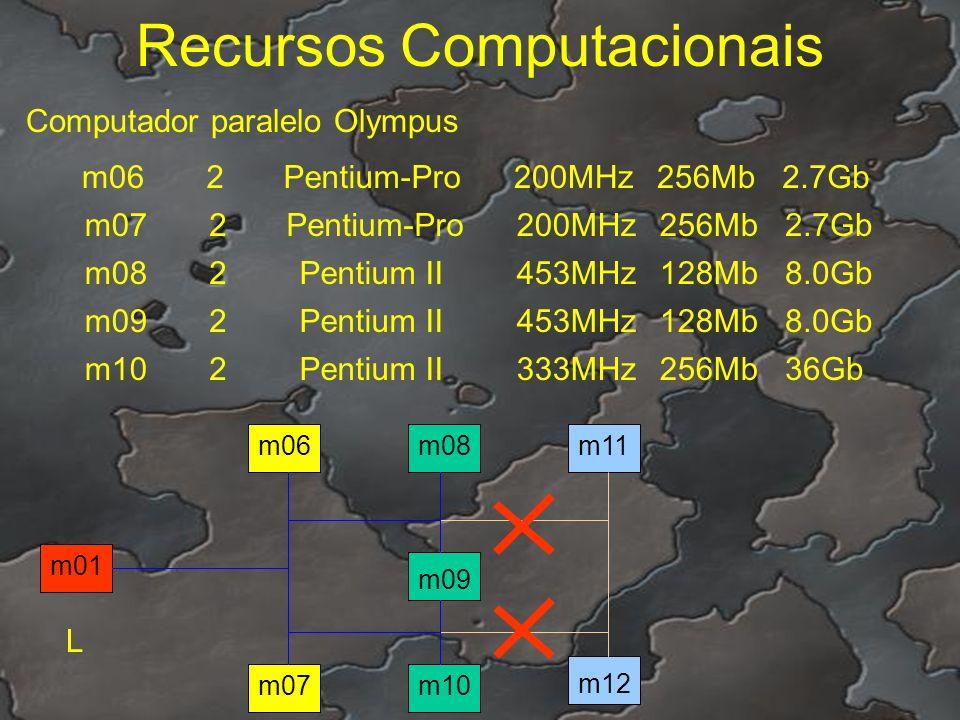 Recursos Computacionais Computador paralelo Olympus m062Pentium-Pro200MHz256Mb2.7Gb m072Pentium-Pro200MHz256Mb2.7Gb m082Pentium II453MHz128Mb8.0Gb m09
