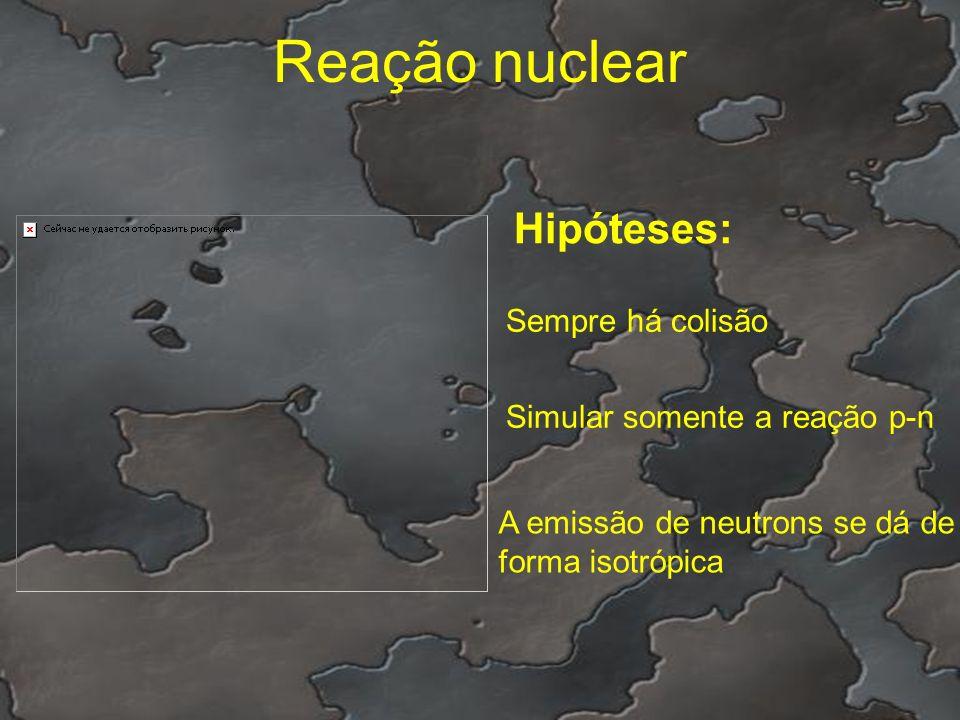 Reação nuclear Hipóteses: Sempre há colisão A emissão de neutrons se dá de forma isotrópica Simular somente a reação p-n