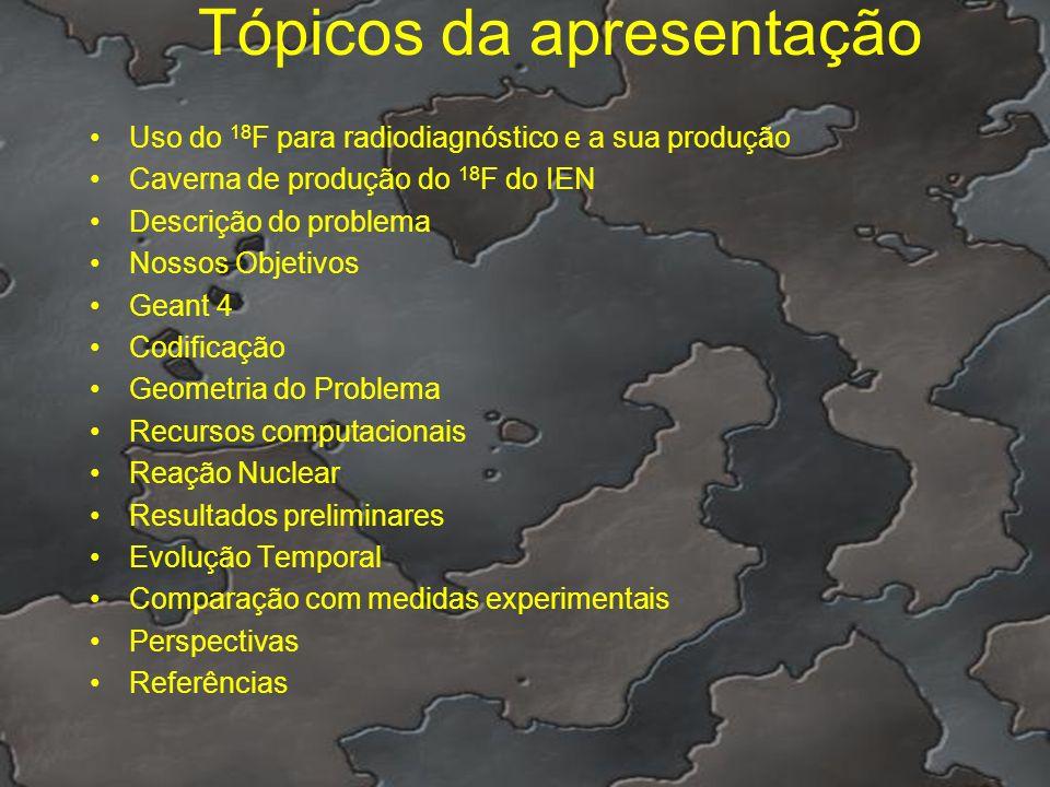 Tópicos da apresentação Uso do 18 F para radiodiagnóstico e a sua produção Caverna de produção do 18 F do IEN Descrição do problema Nossos Objetivos G