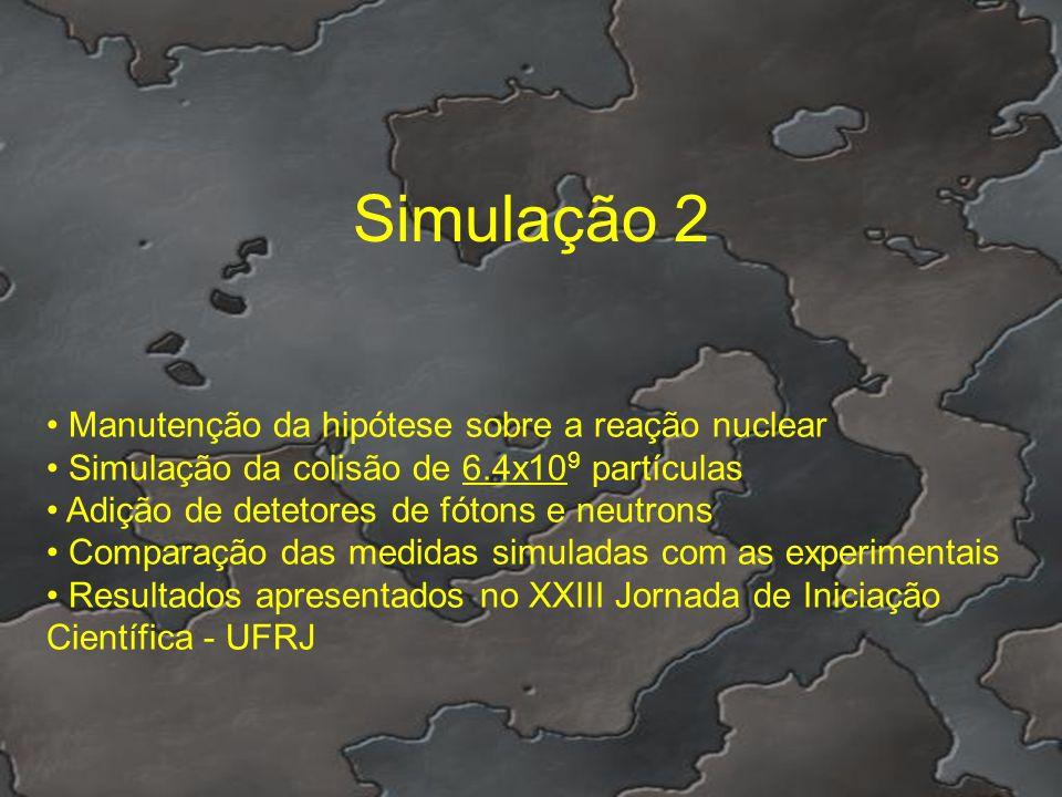 Simulação 2 Manutenção da hipótese sobre a reação nuclear Simulação da colisão de 6.4x10 9 partículas Adição de detetores de fótons e neutrons Compara