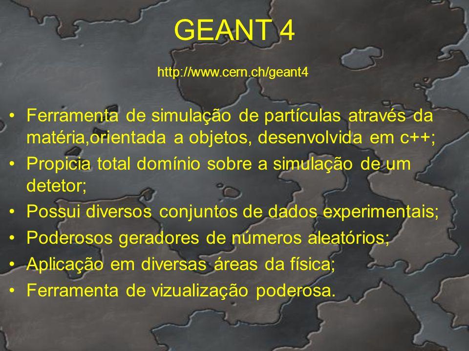 GEANT 4 Ferramenta de simulação de partículas através da matéria,orientada a objetos, desenvolvida em c++; Propicia total domínio sobre a simulação de