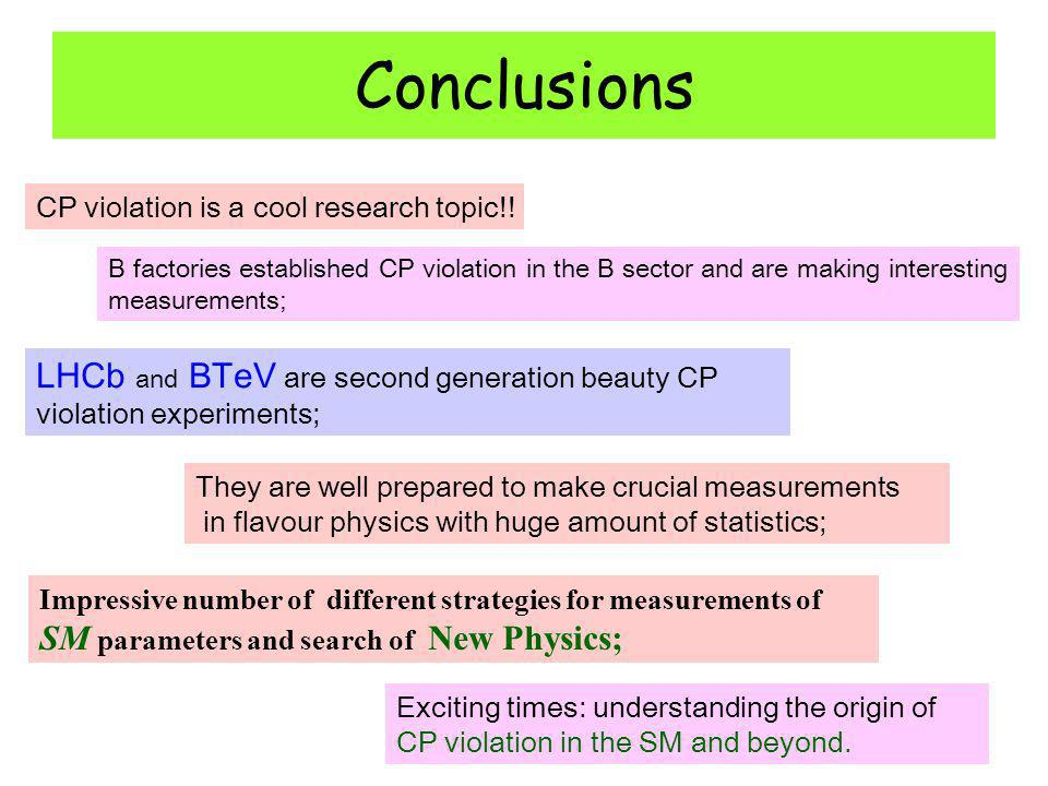 Conclusions LHCb and BTeV are second generation beauty CP violation experiments; They are well prepared to make crucial measurements in flavour physics with huge amount of statistics; Impressive number of different strategies for measurements of SM parameters and search of New Physics; CP violation is a cool research topic!.