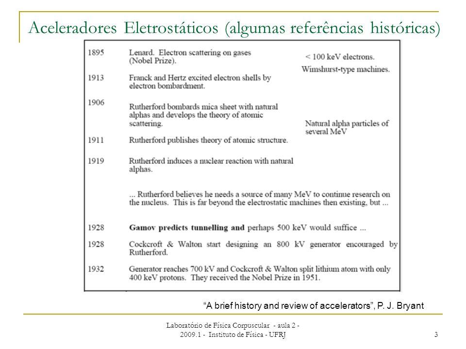 Laboratório de Física Corpuscular - aula 2 - 2009.1 - Instituto de Física - UFRJ 3 Aceleradores Eletrostáticos (algumas referências históricas) A brie