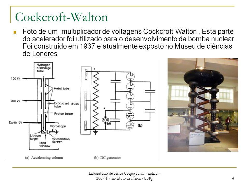 Laboratório de Física Corpuscular - aula 2 – 2009.1 - Instituto de Física - UFRJ 4 Cockcroft-Walton Foto de um multiplicador de voltagens Cockcroft-Wa