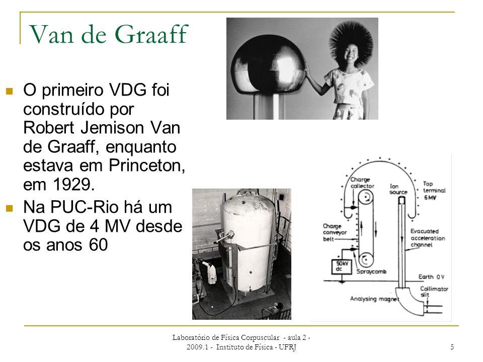 Laboratório de Física Corpuscular - aula 2 - 2009.1 - Instituto de Física - UFRJ 5 Van de Graaff O primeiro VDG foi construído por Robert Jemison Van