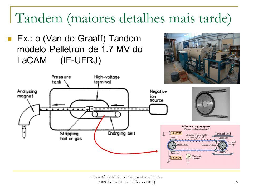 Laboratório de Física Corpuscular - aula 2 - 2009.1 - Instituto de Física - UFRJ 6 Tandem (maiores detalhes mais tarde) Ex.: o (Van de Graaff) Tandem