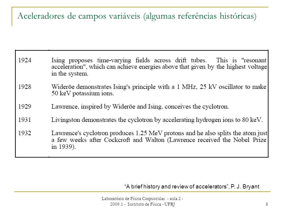 Laboratório de Física Corpuscular - aula 2 - 2009.1 - Instituto de Física - UFRJ 8 Aceleradores de campos variáveis (algumas referências históricas) A