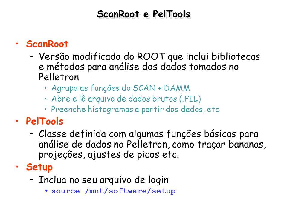 ScanRoot e PelTools ScanRoot –Versão modificada do ROOT que inclui bibliotecas e métodos para análise dos dados tomados no Pelletron Agrupa as funções