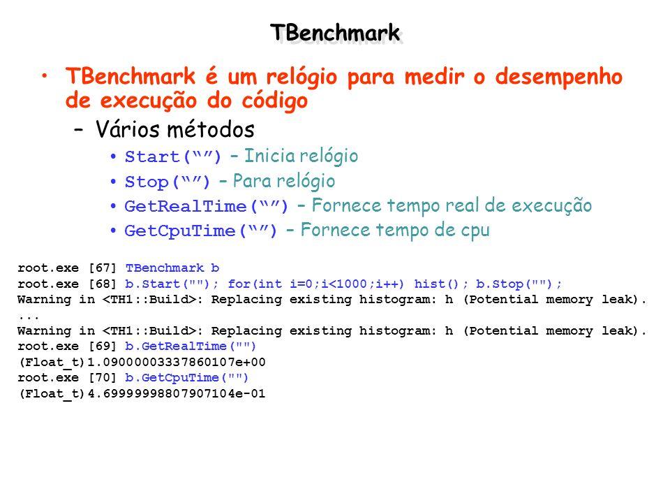 TBenchmark TBenchmark é um relógio para medir o desempenho de execução do código –Vários métodos Start() – Inicia relógio Stop() – Para relógio GetRea