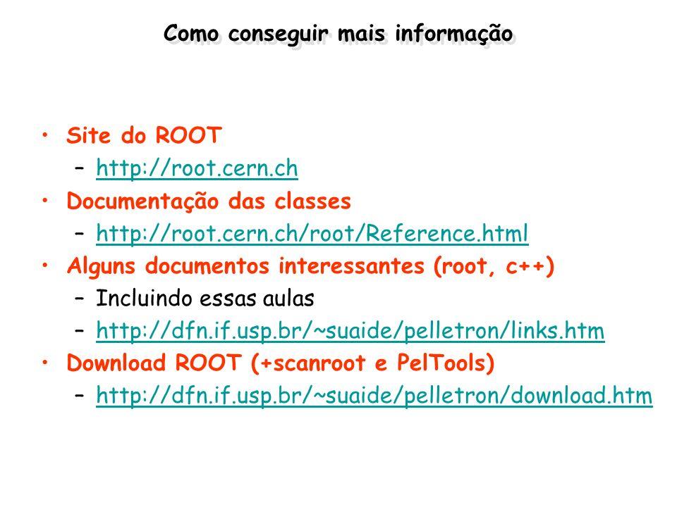 Como conseguir mais informação Site do ROOT –http://root.cern.chhttp://root.cern.ch Documentação das classes –http://root.cern.ch/root/Reference.htmlh