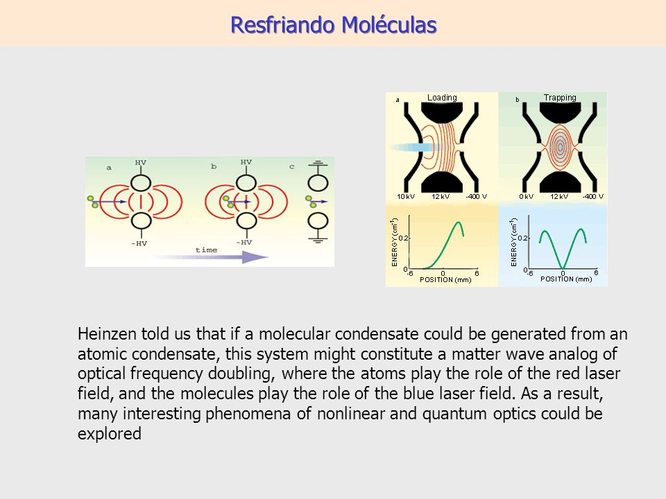 Resfriando Moléculas Heinzen told us that if a molecular condensate could be generated from an atomic condensate, this system might constitute a matter wave analog of optical frequency doubling, where the atoms play the role of the red laser field, and the molecules play the role of the blue laser field.