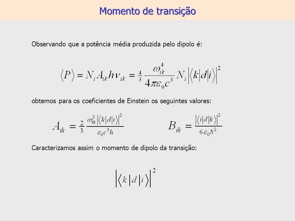 Momento de transição Observando que a potência média produzida pelo dipolo é: obtemos para os coeficientes de Einstein os seguintes valores: Caracteri
