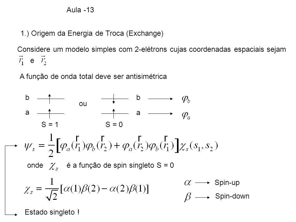 1.) Origem da Energia de Troca (Exchange) Considere um modelo simples com 2-elétrons cujas coordenadas espaciais sejam e A função de onda total deve s