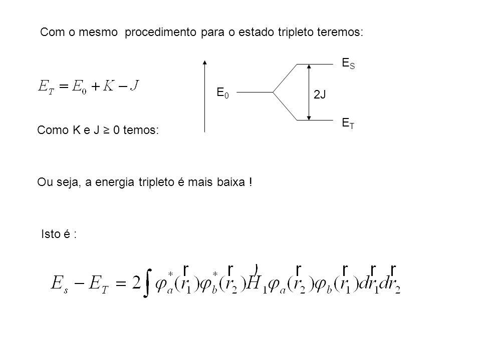 Com o mesmo procedimento para o estado tripleto teremos: Como K e J 0 temos: E0E0 ESES ETET 2J Ou seja, a energia tripleto é mais baixa ! Isto é :