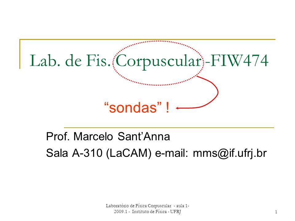 Laboratório de Física Corpuscular - aula 1- 2009.1 - Instituto de Física - UFRJ1 Lab. de Fis. Corpuscular -FIW474 Prof. Marcelo SantAnna Sala A-310 (L