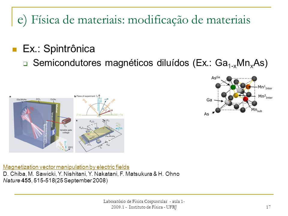 Laboratório de Física Corpuscular - aula 1- 2009.1 - Instituto de Física - UFRJ 17 e) Física de materiais: modificação de materiais Ex.: Spintrônica S