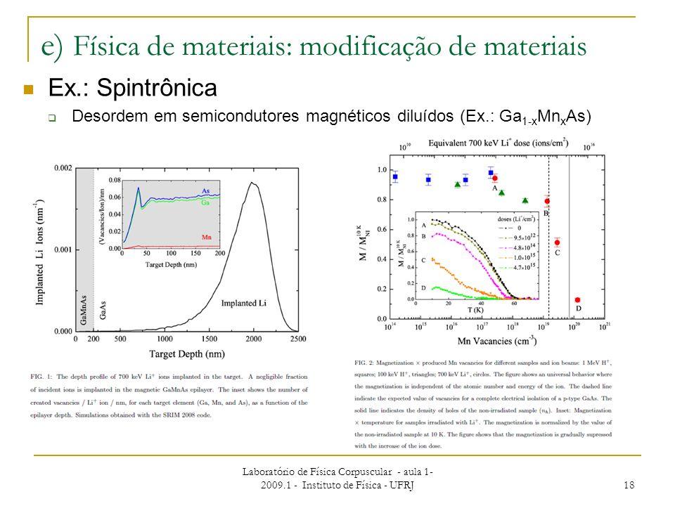 Laboratório de Física Corpuscular - aula 1- 2009.1 - Instituto de Física - UFRJ 18 e) Física de materiais: modificação de materiais Ex.: Spintrônica D