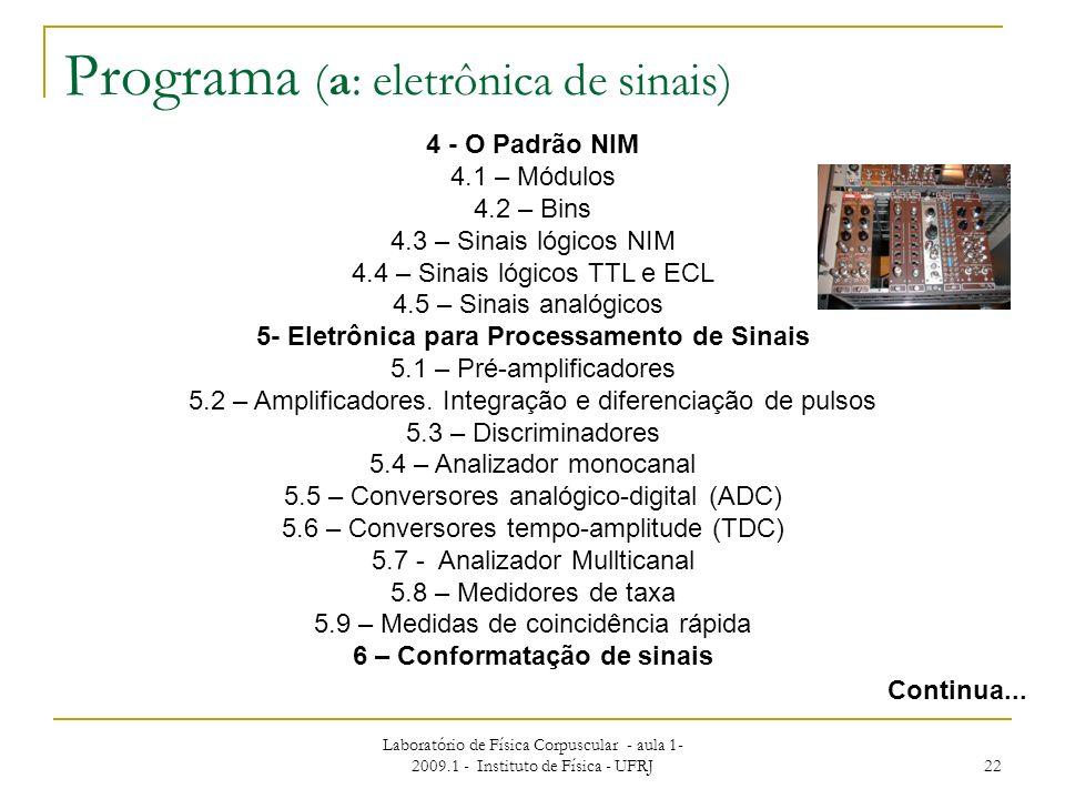 Laboratório de Física Corpuscular - aula 1- 2009.1 - Instituto de Física - UFRJ 22 Programa (a: eletrônica de sinais) Continua... 4 - O Padrão NIM 4.1