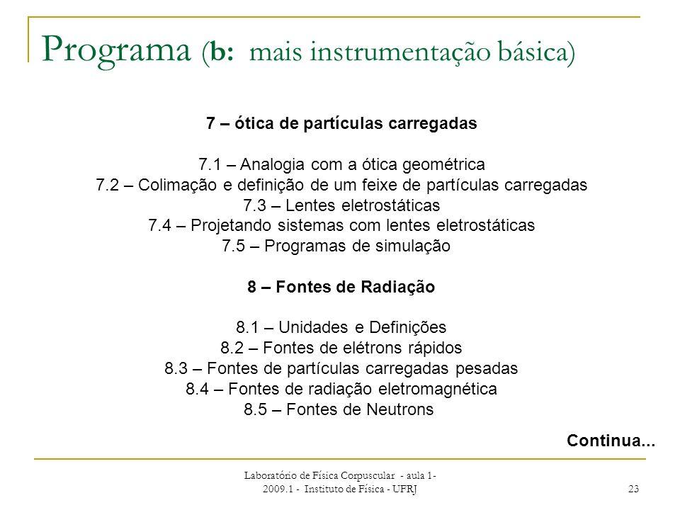 Laboratório de Física Corpuscular - aula 1- 2009.1 - Instituto de Física - UFRJ 23 Programa (b: mais instrumentação básica) Continua... 7 – ótica de p