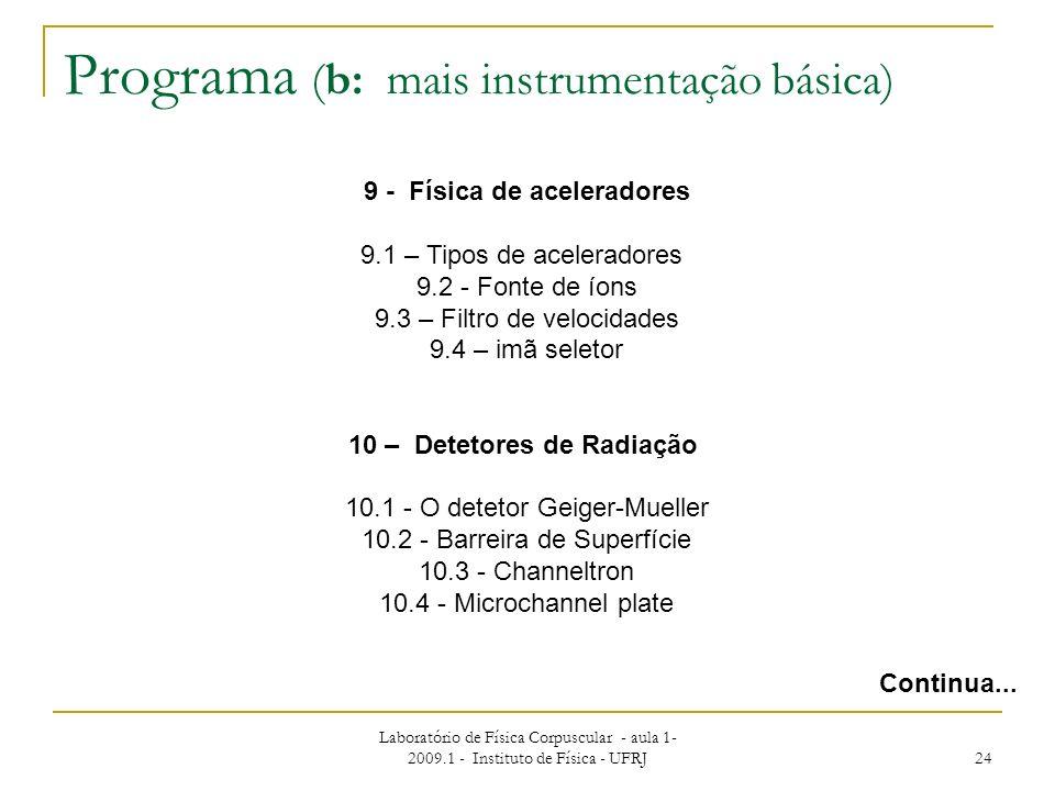 Laboratório de Física Corpuscular - aula 1- 2009.1 - Instituto de Física - UFRJ 24 Programa (b: mais instrumentação básica) Continua... 9 - Física de