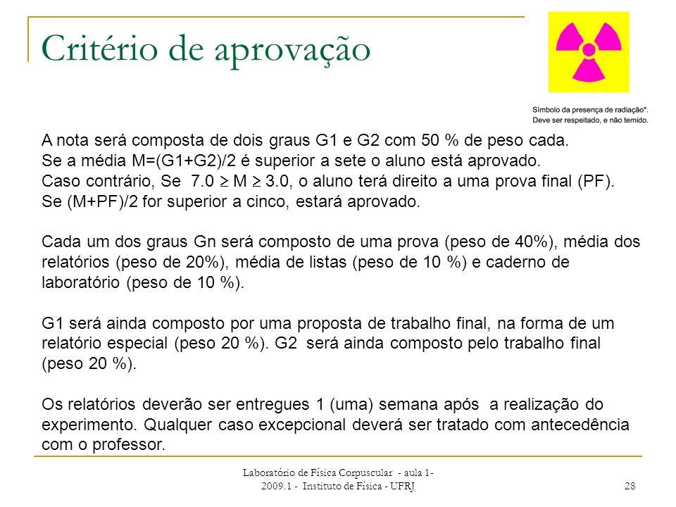 Laboratório de Física Corpuscular - aula 1- 2009.1 - Instituto de Física - UFRJ 28 Critério de aprovação A nota será composta de dois graus G1 e G2 co
