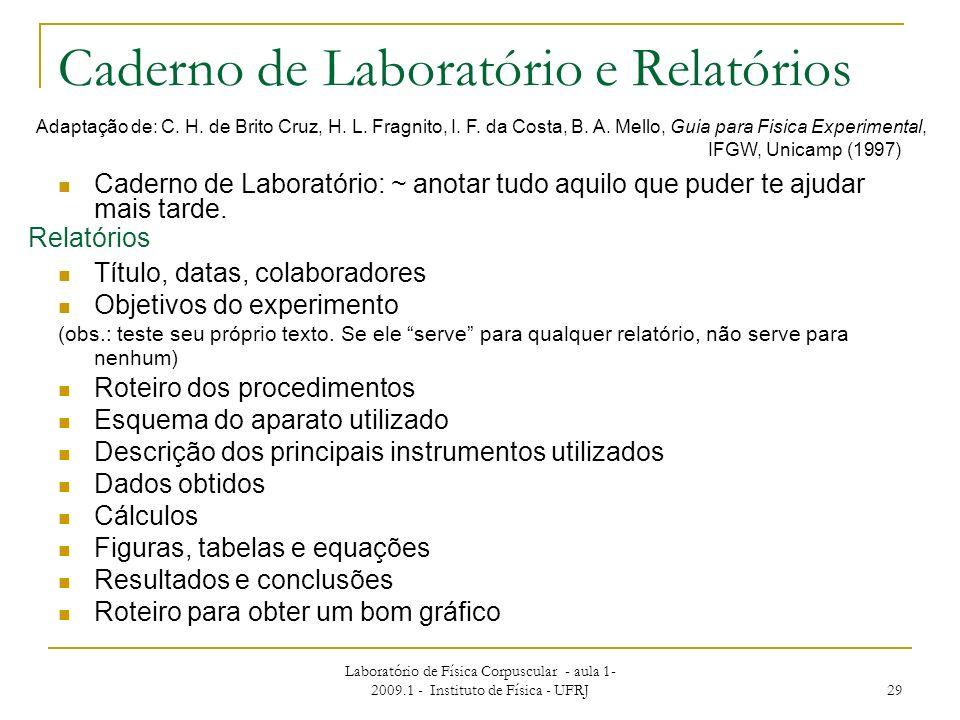 Laboratório de Física Corpuscular - aula 1- 2009.1 - Instituto de Física - UFRJ 29 Caderno de Laboratório: ~ anotar tudo aquilo que puder te ajudar ma